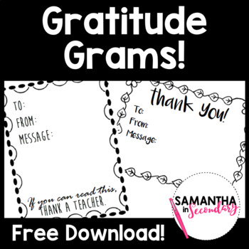 FREE Gratitude Grams - Thank a colleague!