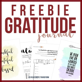 Free Gratitude Journal For Middle School By Read Write Transform