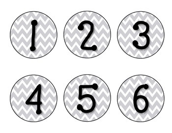 *FREE* Gray Chevron Classroom Numbers