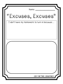 FREE Greatest Homework Excuse Book Ever Activity