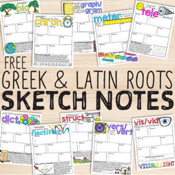 FREE Greek and Latin Roots Doodle Notes Sketch Notes