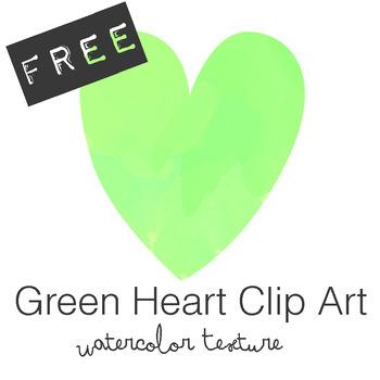 FREE Green Watercolor Heart Clip Art