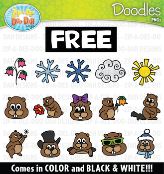 FREE Groundhog Day Doodles Clipart Set {Zip-A-Dee-Doo-Dah Designs}