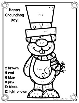 Groundhog Day Doubles Coloring Sheet