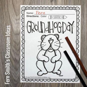 Groundhog Day Coloring Page Freebie