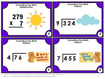 FREE Groundhog Day Math Activities Multiplication and Division Task Cards