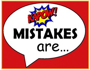 FREE Growth Mindset {Mistakes Are} Super Hero Posters