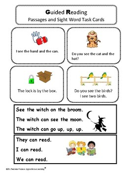 FREE - Guided Reading (I Can Read) Passages and Sight Word Sentences