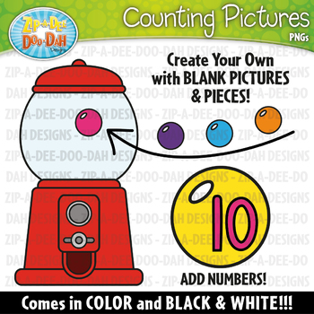 FREE Gumball Machine Counting Pictures Clipart {Zip-A-Dee-Doo-Dah Designs}