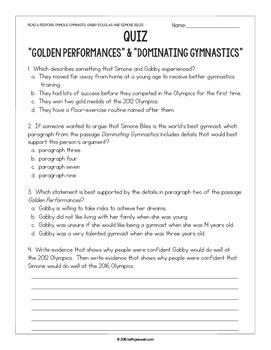 FREE Gymnastics Paired Texts: Gabby Douglas & Simone Biles: Nonfiction Passages