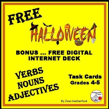 FREE HALLOWEEN VERBS, NOUNS, ADJECTIVES on 16 Task Cards + Digital BONUS |Gr 4-5