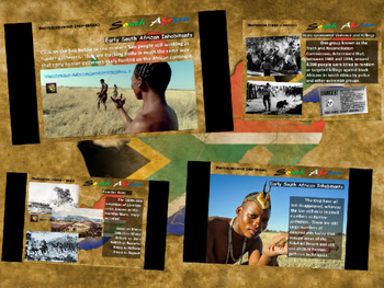 """FREE HANDOUTS for """"History of South Africa"""" 4-PART UNIT with 100 rich slides"""