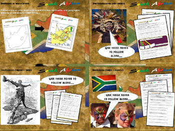 """FREE HANDOUTS for """"History of South Africa"""" 4-PART UNIT wi"""