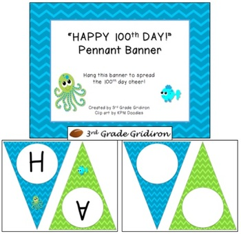 "FREE ""HAPPY 100th DAY!"" Chevron Pennant Banner - Beach Blo"