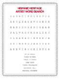 FREE HISPANIC HERITAGE ARTIST WORD SEARCH