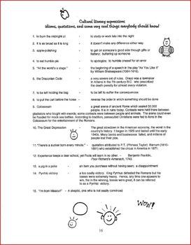 H.S. English  Vocabulary & Cultural Literacy Unit FULL 1st Sem. Fabulous!