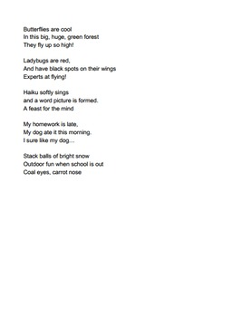 FREE Haiku Poem Writing Instructions Handout For Middle Schoolers