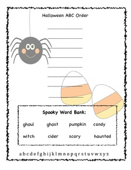 FREE Halloween ABC Order (CCSS Aligned)