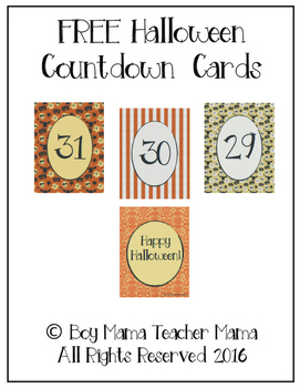FREE Halloween Countdown Cards
