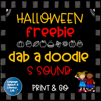 FREE Halloween No Prep Activity for Articulation of the S Sound Speech Therapy
