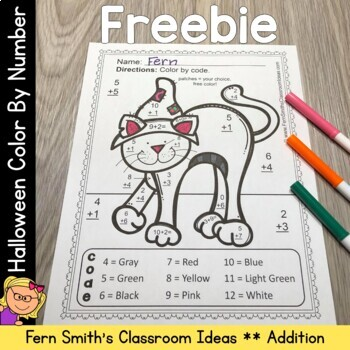 Color By Numbers Halloween Addition Facts Freebie