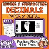 FREE Halloween Math Adding and Subtracting Decimals Google