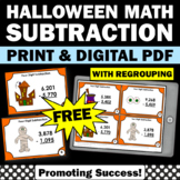 FREE Halloween Math Activities, 4 Digit Subtraction with Regrouping Task Cards