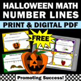 FREE Halloween Math Task Cards Number Lines to 20 +, Kindergarten Math Centers