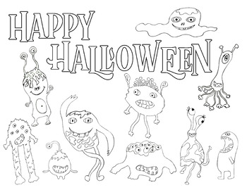 FREE Halloween Monsters Coloring Page