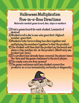 FREE Halloween Multiplication Game- 5-in-a-Row!