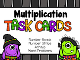 Multiplication Task Cards for Halloween - Arrays, Word Problems, & Number Bonds