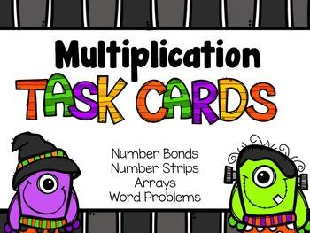 Multiplication Task Cards for Halloween - Arrays, Word Pro
