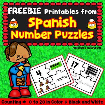 Spanish Numbers: Rompecabezas de Los Números:  Halloween Counting Puzzle