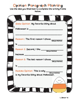 FREE Halloween Opinion Paragraph Writing