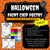 FREE: Halloween Paint Chip Poetry for Secondary ELA!