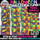 FREE Halloween Reveal Puzzle Clipart {Digital Puzzles Clipart}