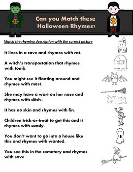 FREE - Halloween Rhymes/Picture Match