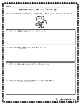 FREE Halloween Sentence Challenge: Oral Language and Writing Practice