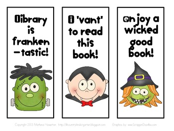 Halloween Silly Faces Bookmarks for Fall