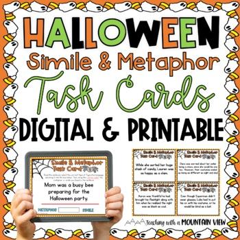 {FREE} Halloween Simile and Metaphor Task Cards Mini Set