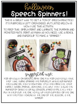 FREE Halloween Speech Spinners!