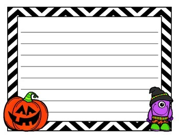 FREE! Halloween Stationary & Frankenstein Adjectives Close Actvity