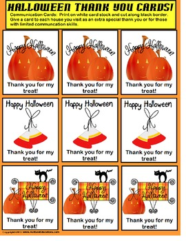AUTISM - FREE Halloween Thank You Cards for Trick-or-Treating!