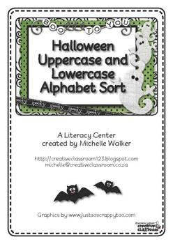 FREE Halloween Uppercase and Lowercase Alphabet Sort