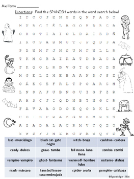 FREE!!!  Halloween Word Search with Spanish Vocabulary Terms