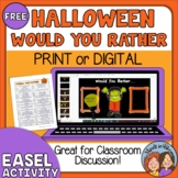 FREE Halloween Would You Rather Questions Print, Google Slides and TpT Digital!