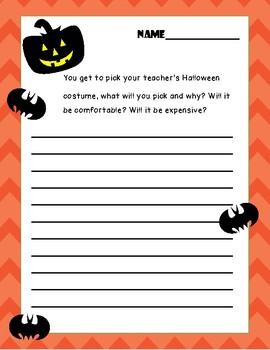FREE Halloween Writing Prompt with Matching Worksheets