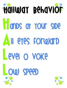 FREE Hallway Behavior Poster