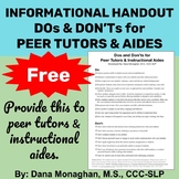 **FREE** Handout-Dos and Don'ts for Peer Tutors & Instructional Aides