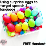 FREE Handout - Using Surprise Eggs for Speech and Language